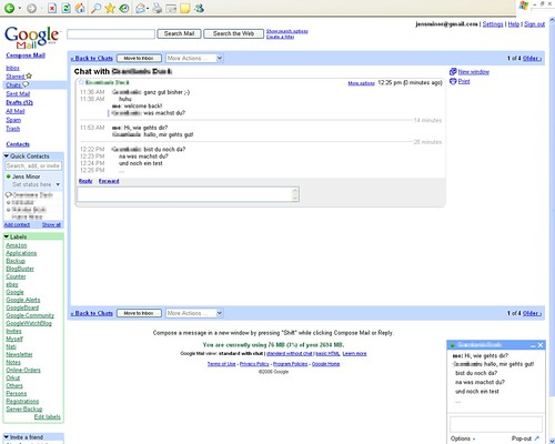 Google Mail Chat Screenshot