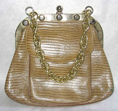 Coquette NY Taupe Faux-Aligator Purse With Studs