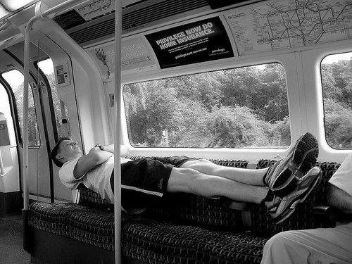 Geoff on the Tube - Photo by Ann