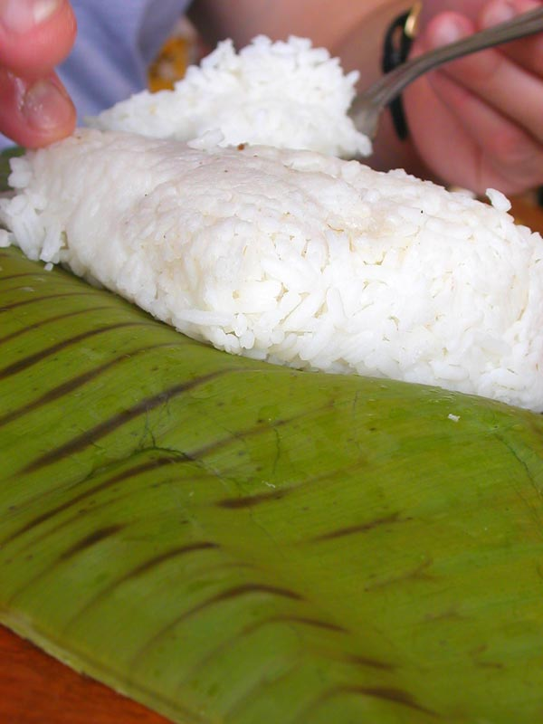 rice in  banana leaves