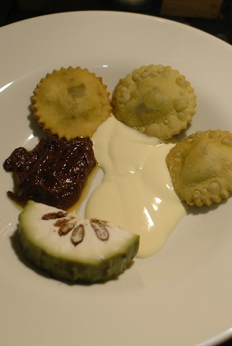 green tea ravioli with red bean paste