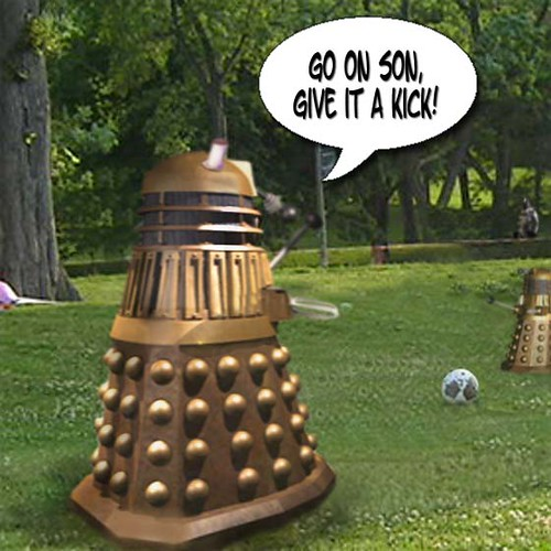 Dalek in park with boy 1