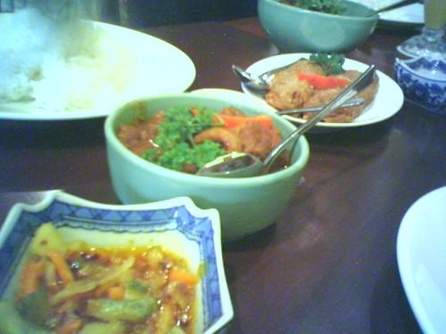 Pickles, Beef Rendang, Ngo Heong, and Ayam Buah Keluak
