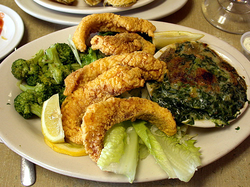 Fried catfish and Oysters Rockefeller casserole