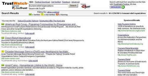 Screenshot of  TrustWatch - Tsunami relief organizations search