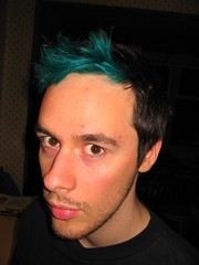 Me sporting my new greeny-blue coloured hair