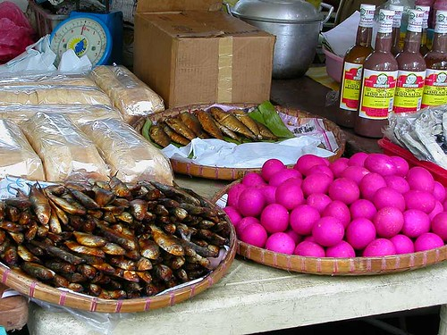 market smoked fish and salted eggs