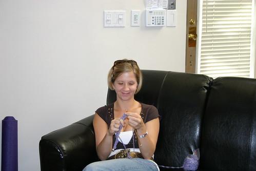 Christine still knitting!