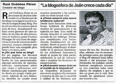 Reportaje en diario Jaén