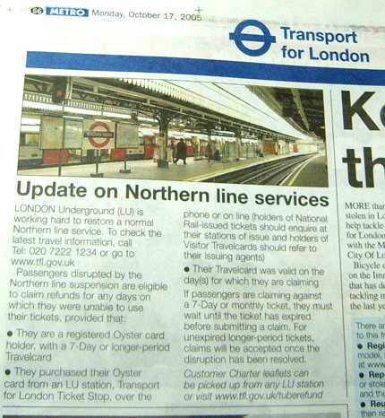 Get your Northern Line Refund