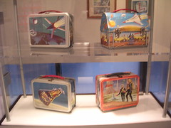 Close-up of some of the space lunchboxes