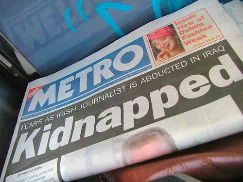 Irish journalist kidnapped in Iraq