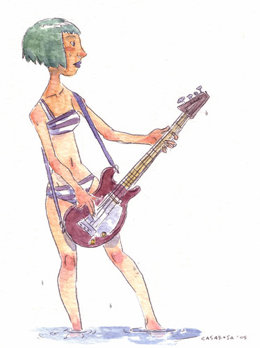 guitar girl drawing