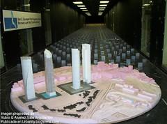 Modelos de las torres Madrid Arena en el tunel de viento