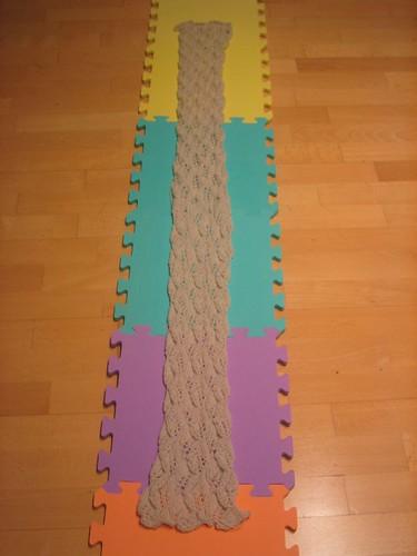 Lace leaf scarf, pre-block
