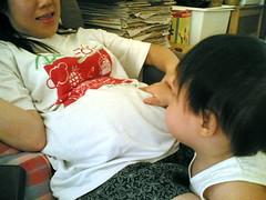 Checking Mommy's Tummy
