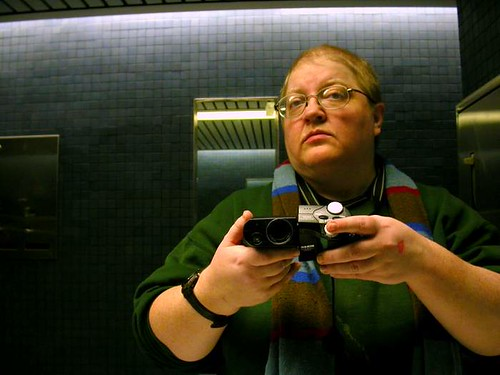Self-portrait in a public restroom mirror