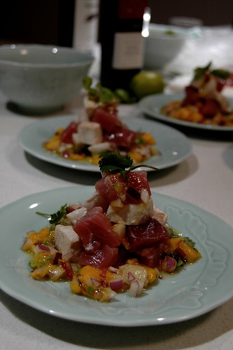 tuna swordfish and a mango salsa