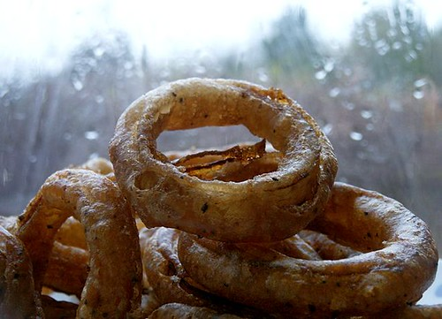 Onion rings on a rainy day