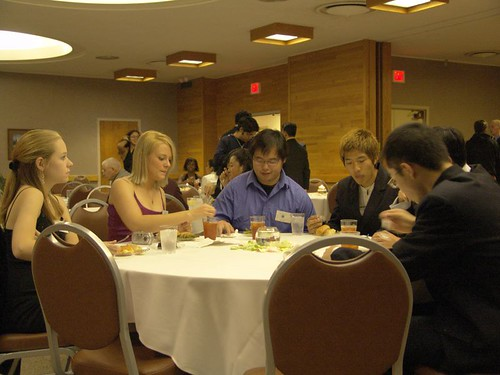 Officers and members of the Missouri International Student Council eat together at the Council's inaugural dinner, Saturday night.  New officers were announced and founding officers were recognized at the event.