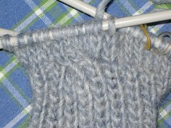 Close-up of first cable on new mittens