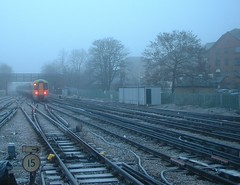Train in the fog/ice