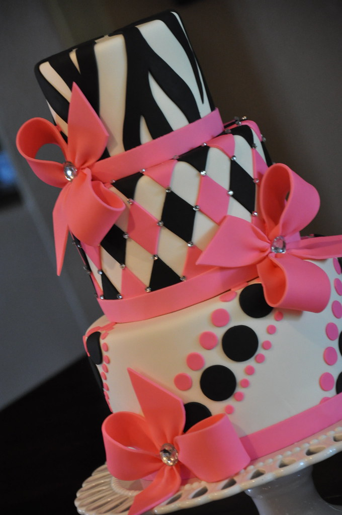 Pink White & Black Sweet 16 Cake photo by Designer Cakes By April