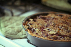 cherry pie with crumble topping photo by ginnerobot