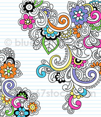 Psychedelic Flower and Paisley Notebook Doodle Vector Illustration by blue67 photo by blue67design