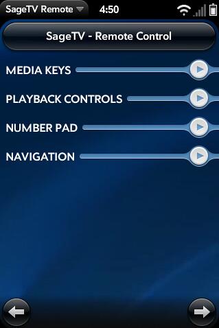 Palm Pre SageTV Remote 1