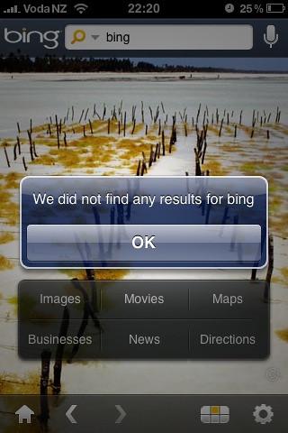 Bing for iPhone fail?