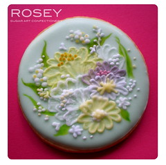 Brush Embroidery Flower Cookie photo by rosey sugar