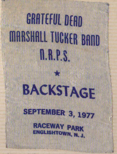 Backstage pass, Grateful Dead Concert, 1977