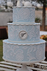 Vintage Inspired Wedding Cake w/ Monogram photo by Designer Cakes By April