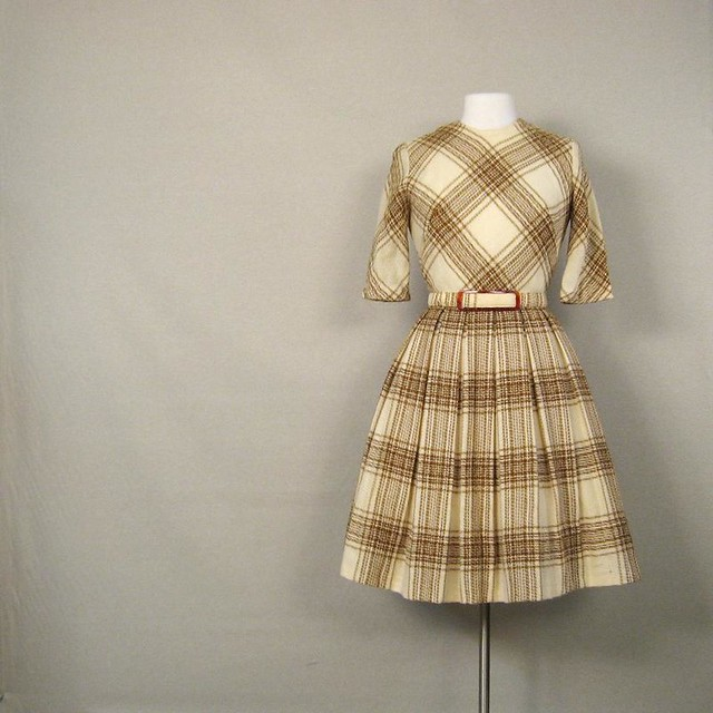 Brown Velvet And Pink Plaid Holiday Dress - Girls Party Dresses
