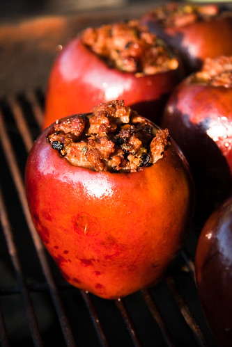 Grilled Apples Stuffed with Sausage & Sage