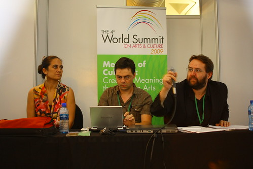 Letila Mitchell (Fiji) Bjorn Maes (Belgium) and Andrew Firmin (UK), 4th World Summit on Arts & Culture