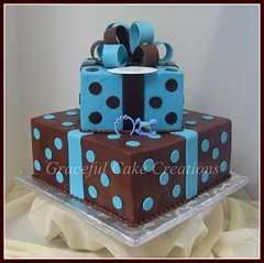 Polka Dot Baby Shower Cake photo by Graceful Cake Creations