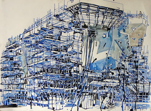 Scaffolding at the stern, Ink on paper, 64x52cm