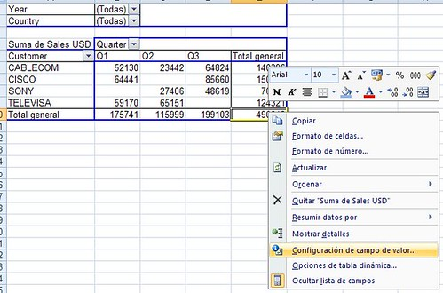 configuracion campo de valor pivot table o tabla dinamica Microsoft Office Excel 2007