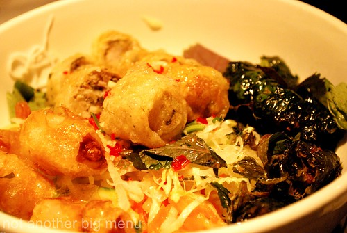 Bún Nem - 'Spring Bowl' of imperial and prawn spring rolls, grilled meat parcel on rice vermicelli and viet herbs salad £7