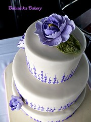 Lilac Colored Peony Wedding Cake. photo by babushka bakery