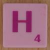 Scrabble pink tile letter H