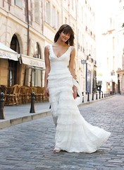 romantic wide strap V neck bridal gown with ruffle layered skirt photo by bridesmaiddresssaleca