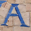 A blue on beige mosaic tile
