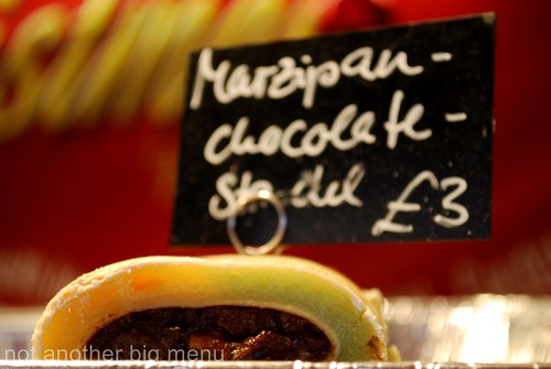 Manchester Christmas market - Marzipan and chocolate strudel