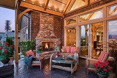Mountain View Timber Frame Home - Open Air Patio photo by Riverbend Timber Framing