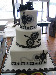 Black & white African Traditional wedding cake in delicious chocolate cake photo by Charly's Bakery