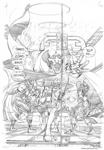 Avengers cover by Neal Adams, Three Cows Shot Me Down, pencils