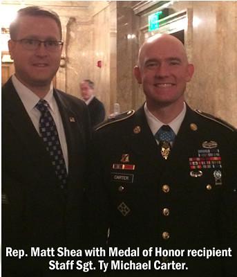 Rep. Matt Shea with Medal of Honor recipient Staff Sgt. Ty Carter